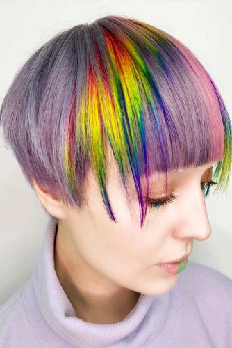 Short Hairstyles with Rainbow Coloring Picture 1
