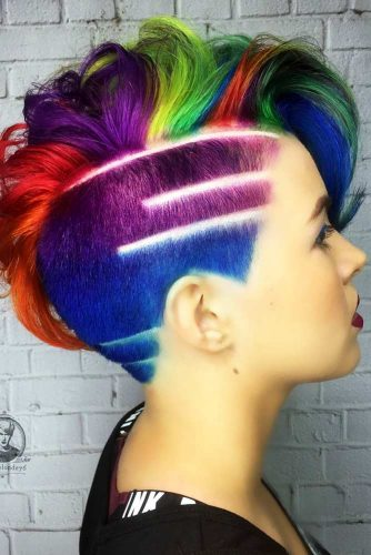 Short Hairstyles with Rainbow Coloring Picture 3