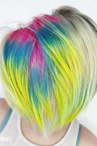Rainbow Color Hair With Short Haircut #shorthair #straighthairstyle