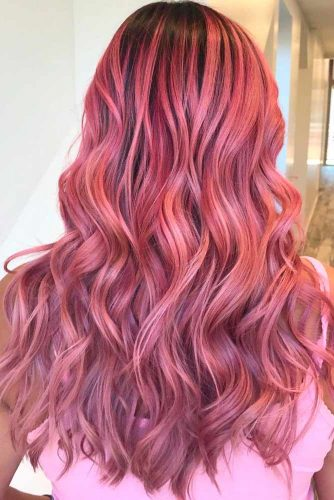 Stylish Ombre Rose Gold Hair #wavyhairstyles #longhair