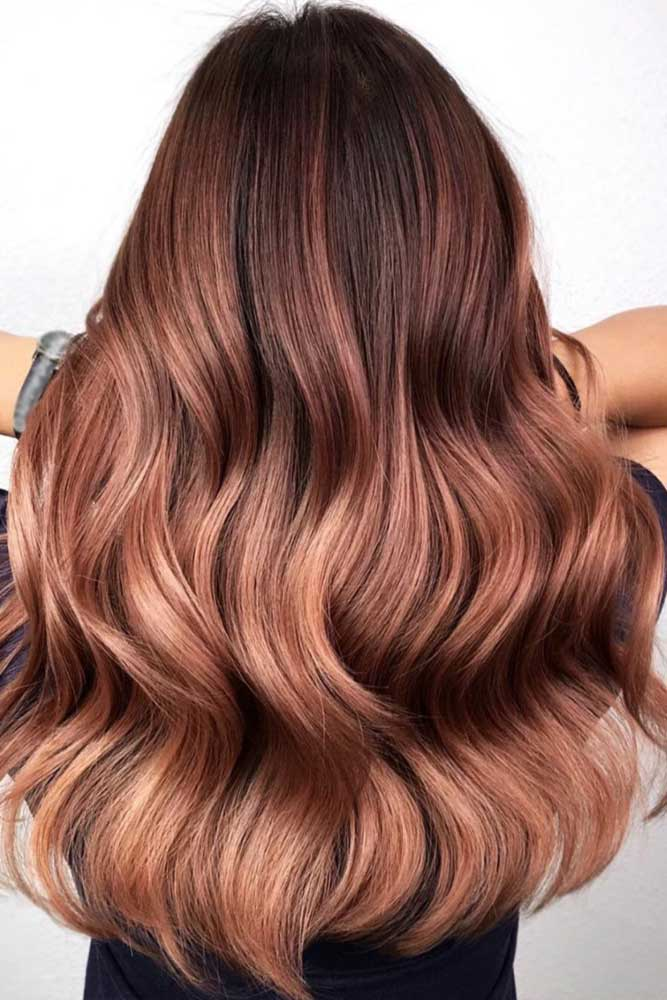 Rose Gold Balayage For Reddish Brunettes #balayage #rosegoldhair