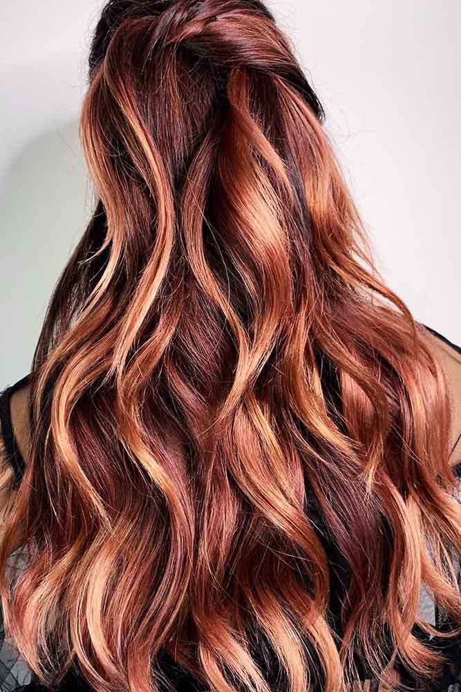 Rose Gold Highlighted Balayage For Brunettes #balayage #highlights #rosegoldhair