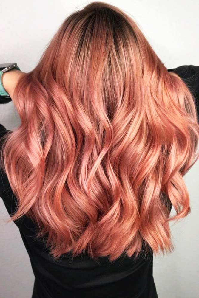 Light Rose Gold Balayage #balayage #rosegoldhair