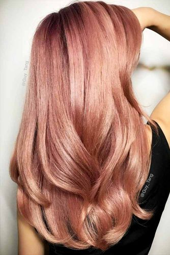 Peachy Shades of Rose Gold Hair Picture 1