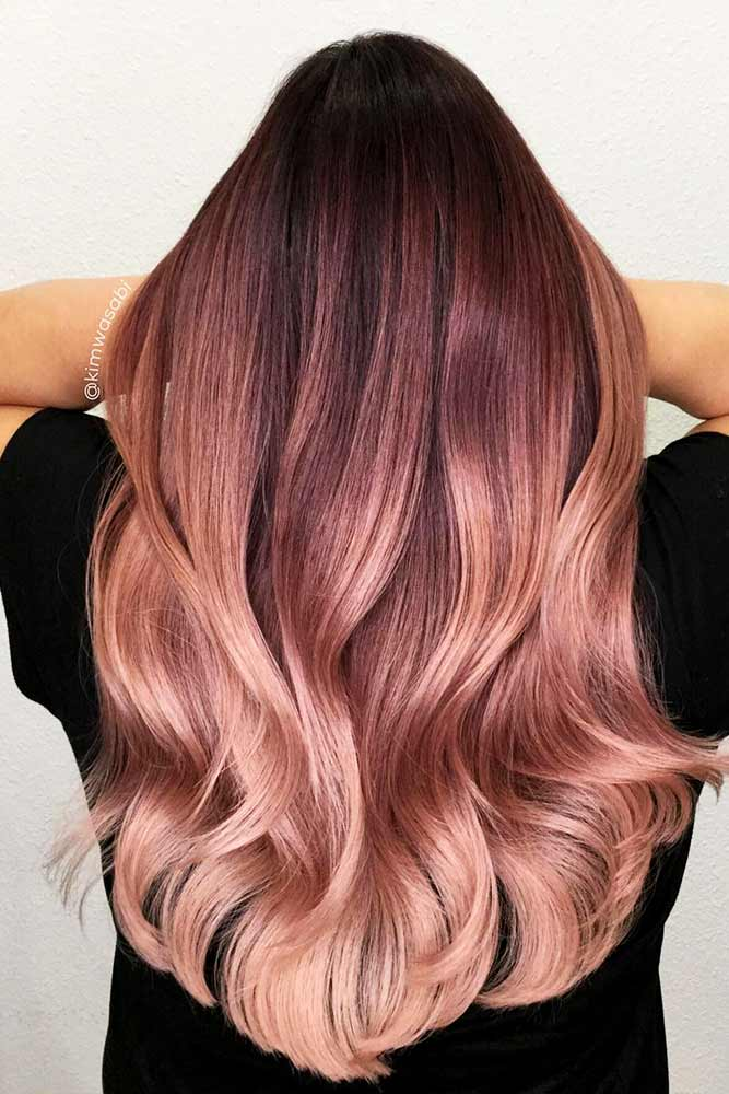 Peachy Shades of Rose Gold Hair Picture 6