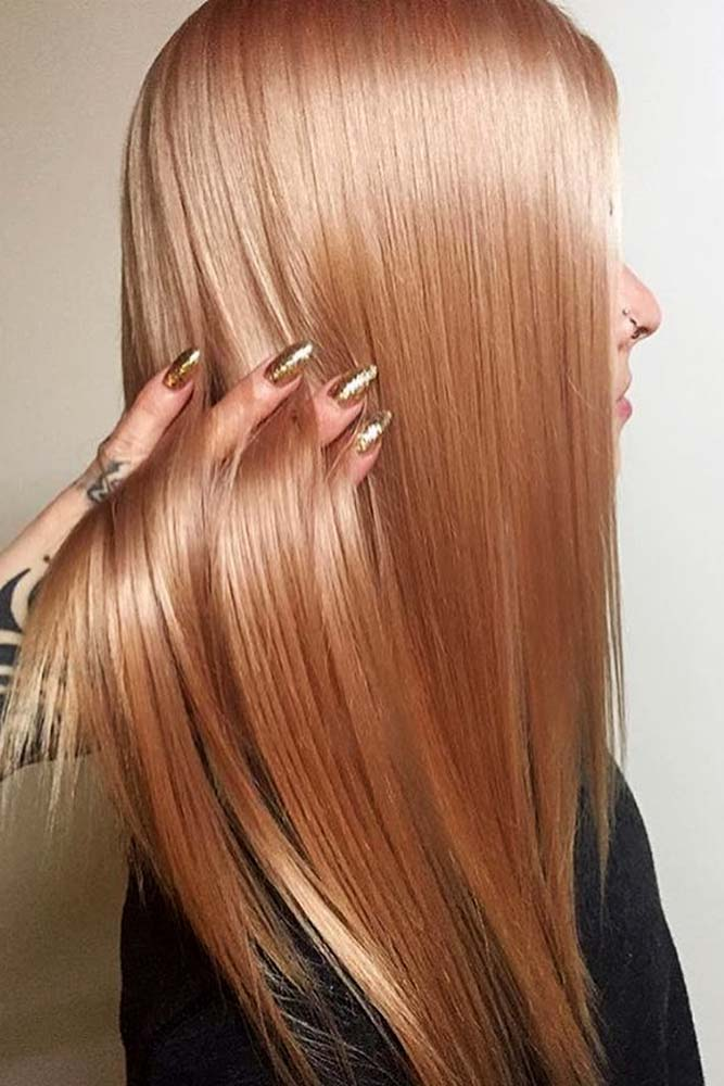 Peach Shade Rose Gold Hair Picture 3