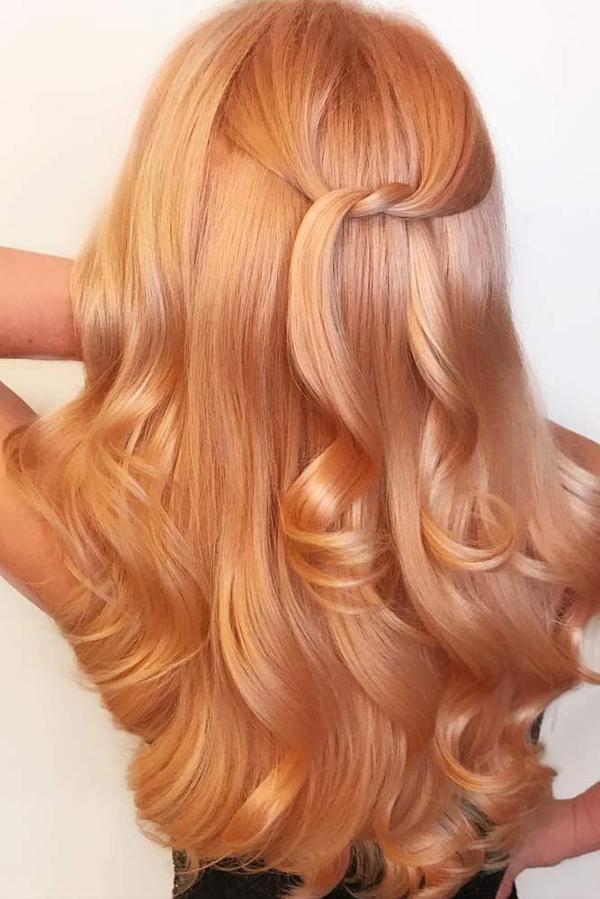 Peach Shade Rose Gold Hair Picture 1