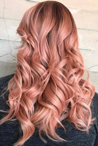 Peachy Shades Of Curly Rose Gold Hair #longhair #curlyhairstyles