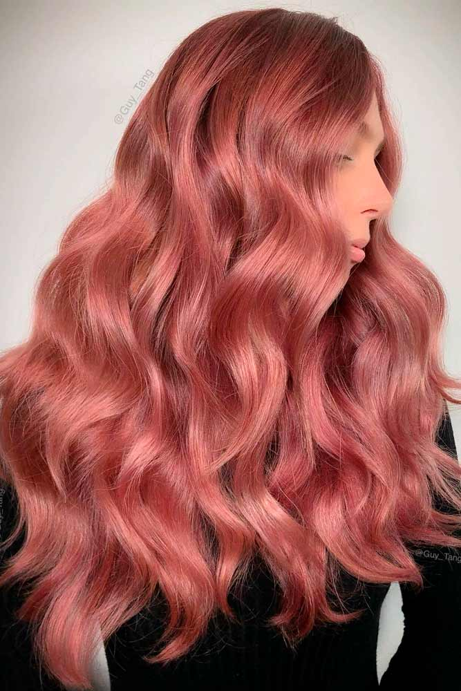 Peachy Shades Of Long Rose Gold Hair #longhair #wavyhairstyles
