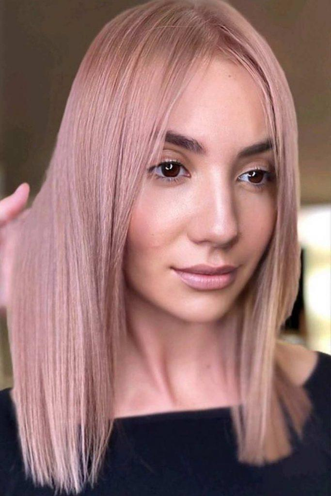 Pale Rose Gold Hair Color #blondehairstyle #hair