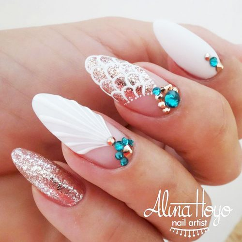 Shellac Nails Designs with Rhinestones for a Classy Look Picture 1
