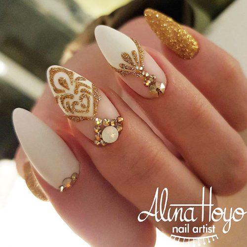 Shellac Nails Designs with Rhinestones for a Classy Look Picture 3
