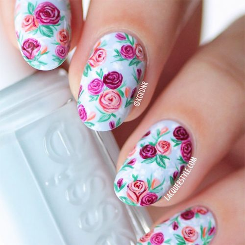 Soft Floral Shellac Nail Designs Picture 2