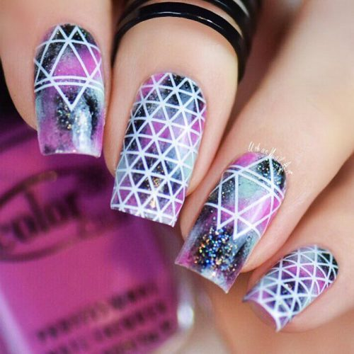 Geometric Shellac Nails Designs Picture 2