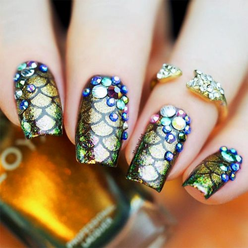 Shellac Nails Designs with Rhinestones for a Classy Look Picture 5
