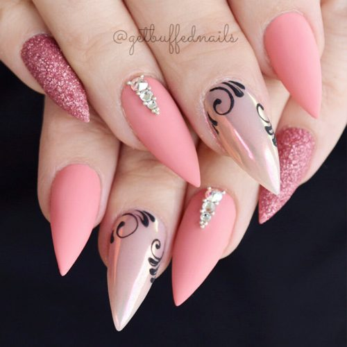 Pink Pastel Colored Shellac Nails Picture 2