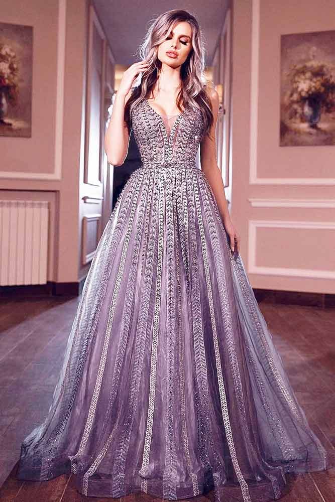 Crystal Silver A-line Prom Dress #alinepromdress