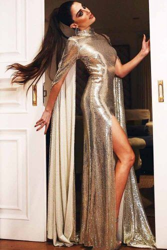 Silver Prom Dress With Long Sleeves #longsleeves #promdress