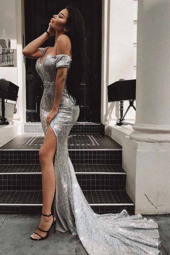 Shoulder Off Silver Maxi Dress With Train #dresscut #shoulderoffdress