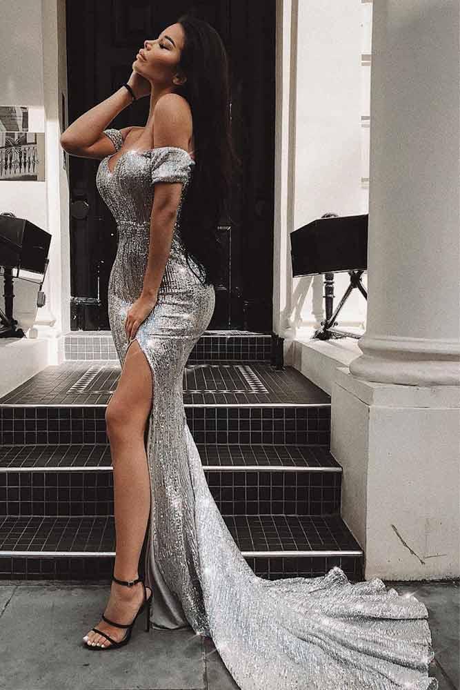 Shoulder Off Silver Maxi Dress With Train #dresscut #shoulderoffdress