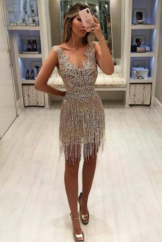 Mini Silver Dress With Fringe #minidress