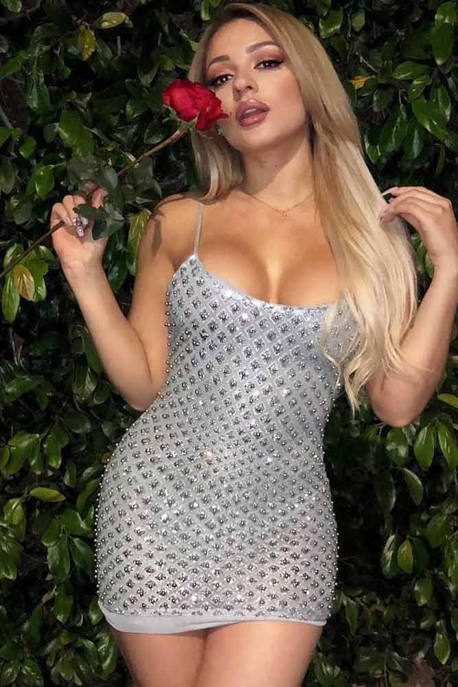 Mini Silver Dress With Crystals #crystaldress