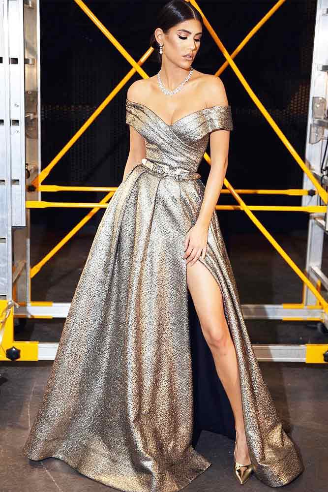Silver Prom Dress With High Cut #shoulderoff #promdress