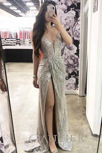 Sexy Silver Prom Dress Design #legcut #vneckdress