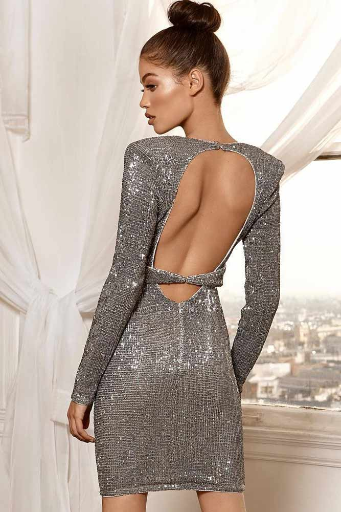 Backless Silver Dress With Long Sleeves #longsleeves