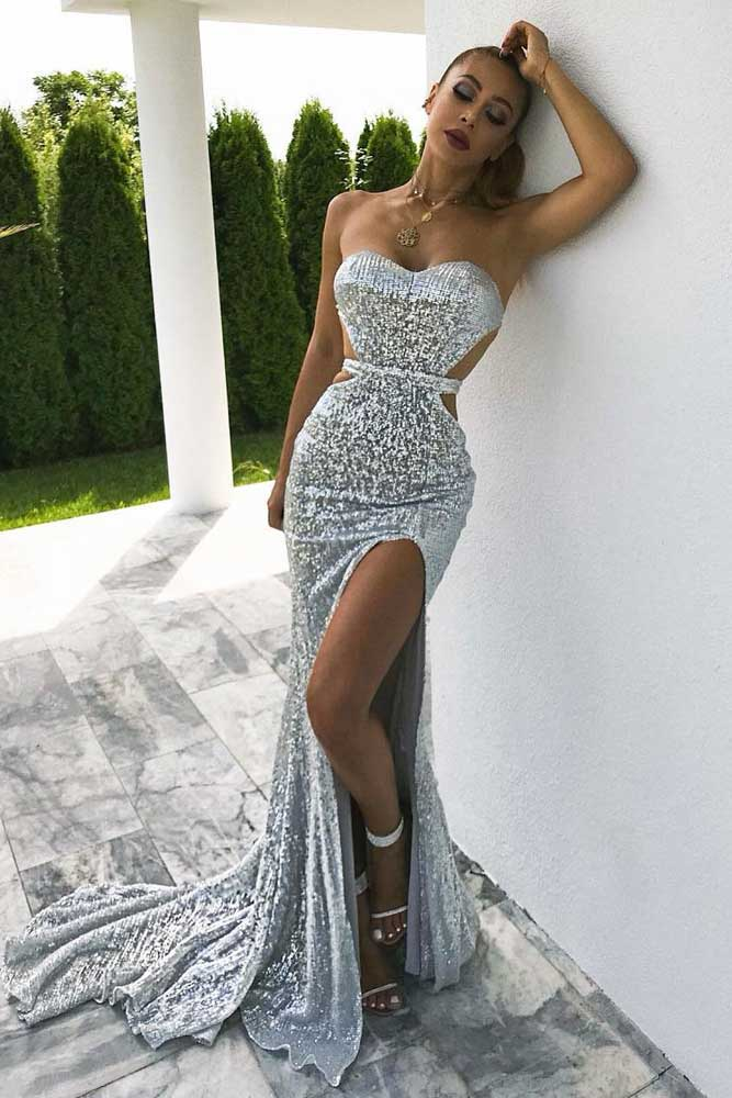 Backless Silver Maxi Dress #backlessdress