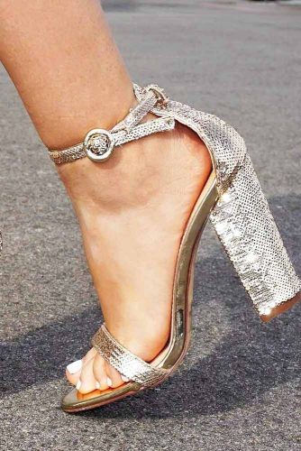 Silver Heels For Prom With Embellished picture 1