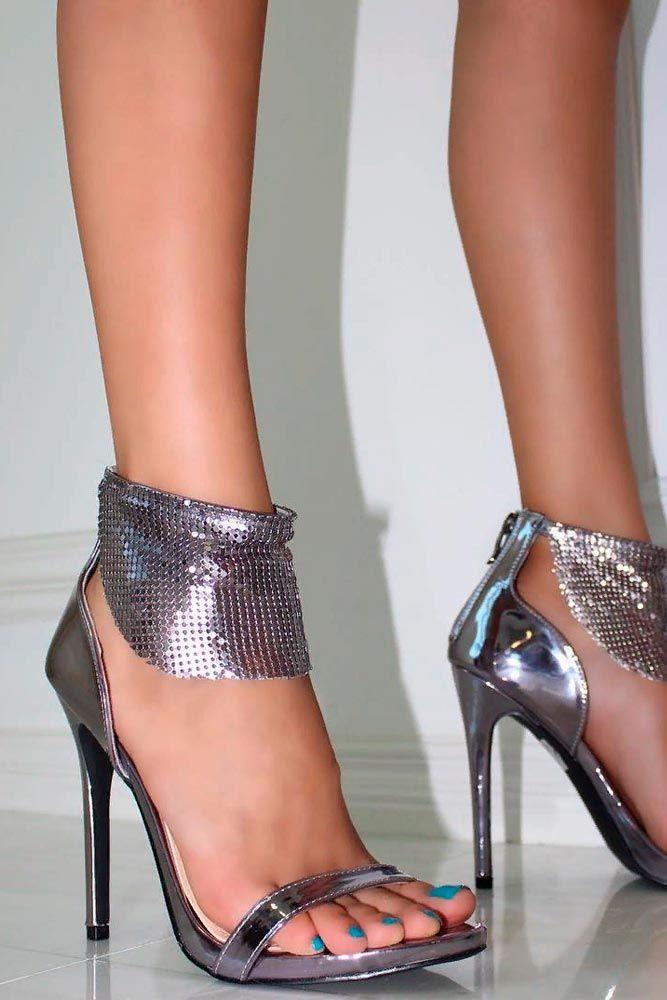 Dark Silver Prom Heels #promshoes #stylishheels