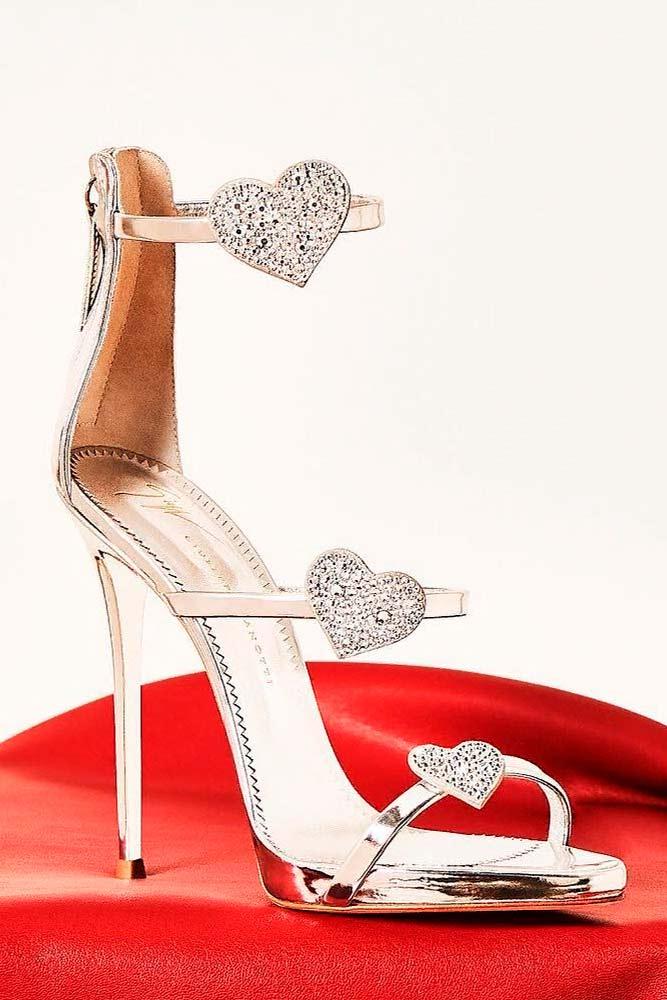 Silver Heels With Hearts For Real Princesses #rhinestonesheels #glamheels