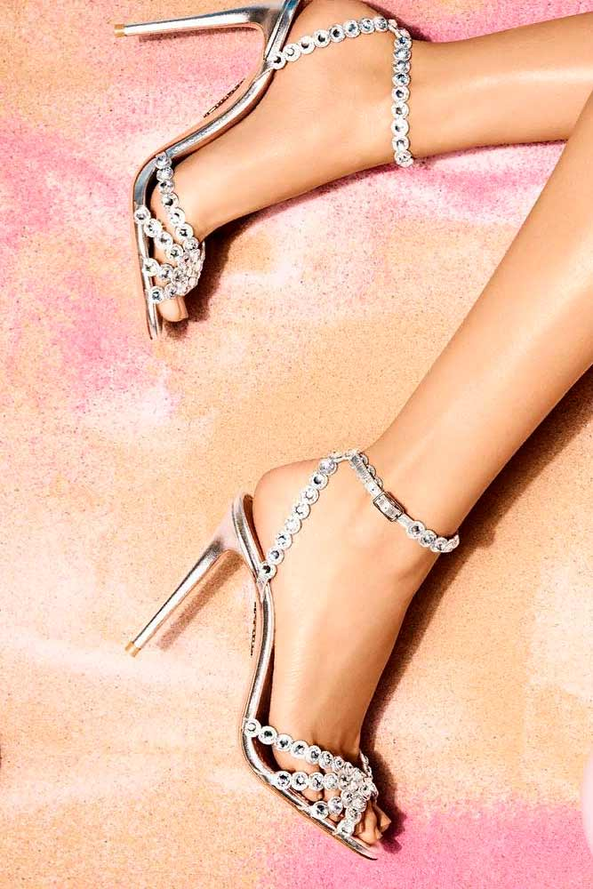 Silver Heels With Rhinestones For Real Princesses #rhinestonesheels #glamheels