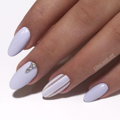 Pastel Lilac Acrylic Nail Design
