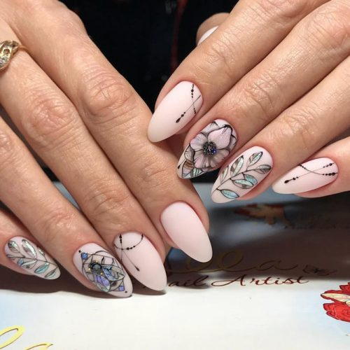 Patterned Acrylic Nail Design #patternednails
