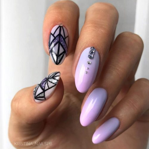 Acrylic Nail Design With Geometric Pattern #geometricpatternednails