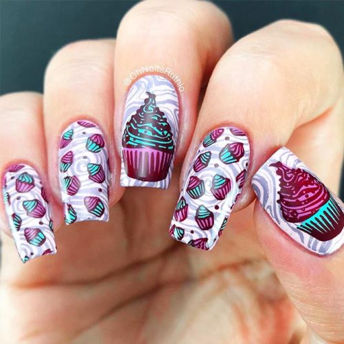 Acrylic Nail Designs Made With Stamping Technique Picture 3