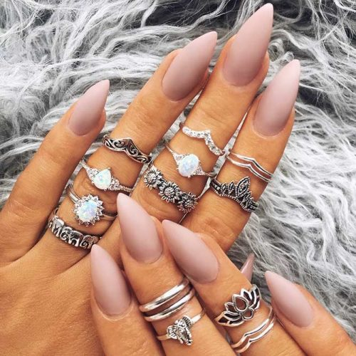 Beautiful Nude Almond Shaped Nails Picture 1