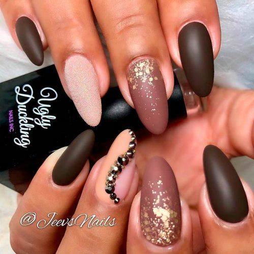 Matte Nails With Gold Glitter #mattenails #glitternails #rhinestonesnails