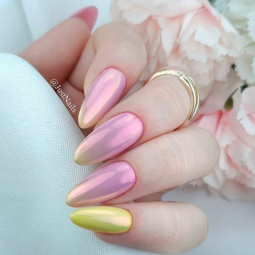 Pink And Yellow Chrome Nails #crhomenails #colorfulnails