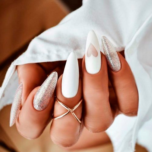 White Nails With Glitter #glitternails #whitenails