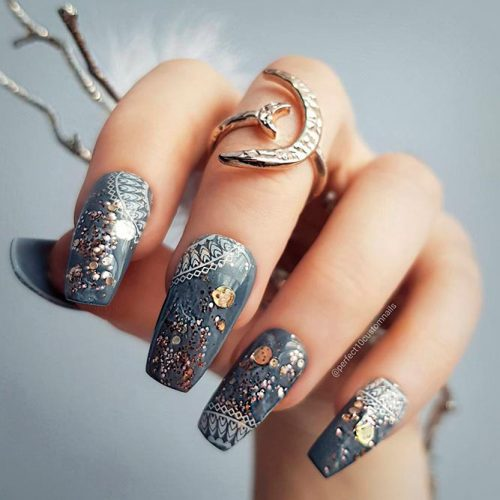 Newest Cool Ballerina Nails Designs In Grey Shades #greynails #goldfoilnails
