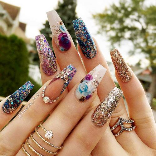 Sparkling Ballerina Nail Designs with Stones Picture 3