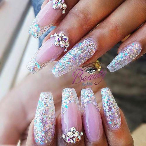 Sparkling Ballerina Nail Designs with Stones Picture 5