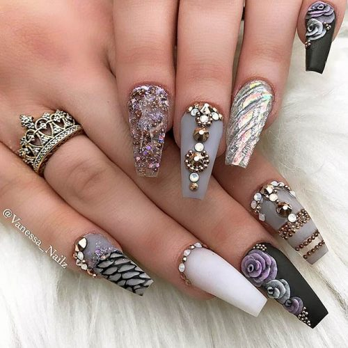 Sparkling Ballerina Nail Designs with Stones Picture 4