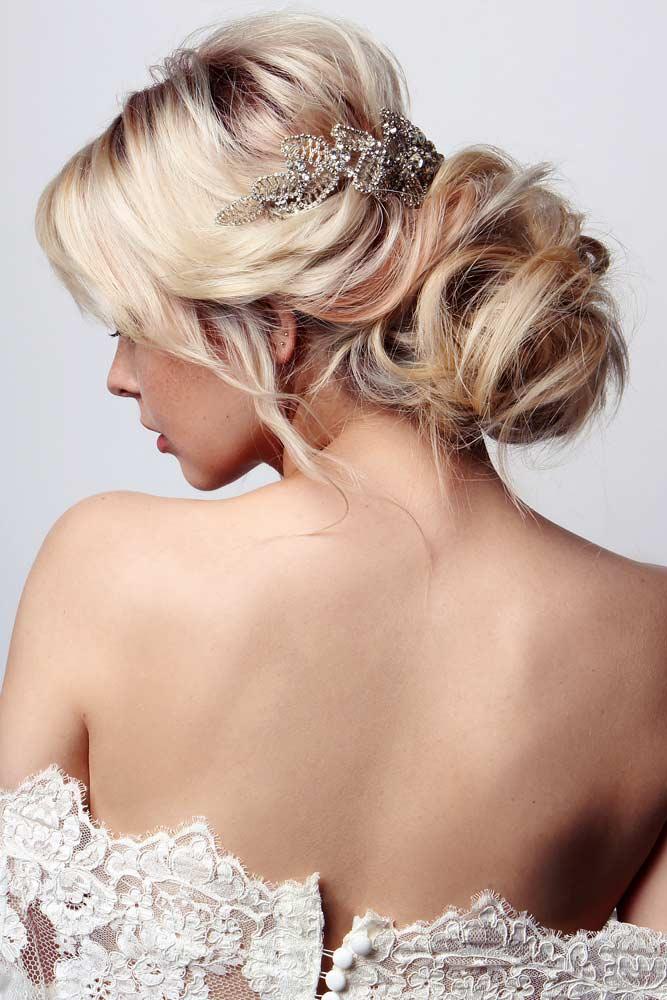 Chignon Hair Style With A Voluminous Knot #blondechignon