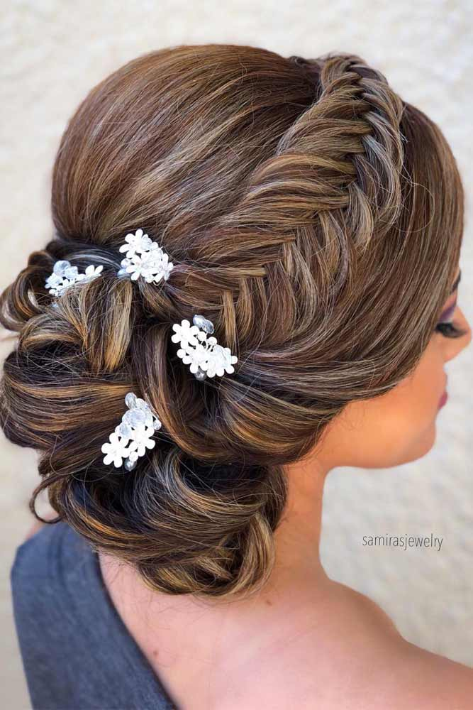 Chignon Hairstyle With Fisthtail Braid #fishtailbraid #floralaccessory