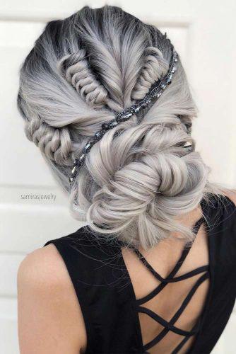 Beautiful Chignon Hairstyle For Special Evening #silverchignon