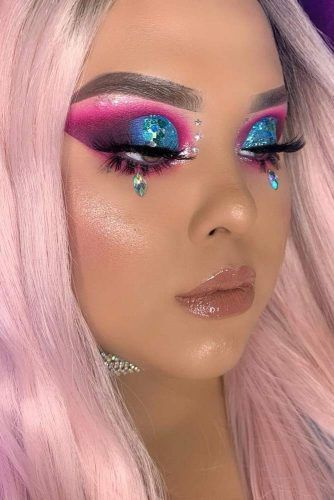 Bright Makeup With Crystal Drops #cutcrease